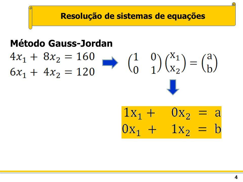 5 Resolução de sistemas de equações Método Gauss-Jordan São permitidas as seguintes transformações: Troca de linhas; Ln Lm – troca das linhas n por m Multiplicação da linha por um escalar; Ln KLn – multiplicação da linha n pelo escalar K Soma de uma linha multiplicada por um escalar a uma outra linha.
