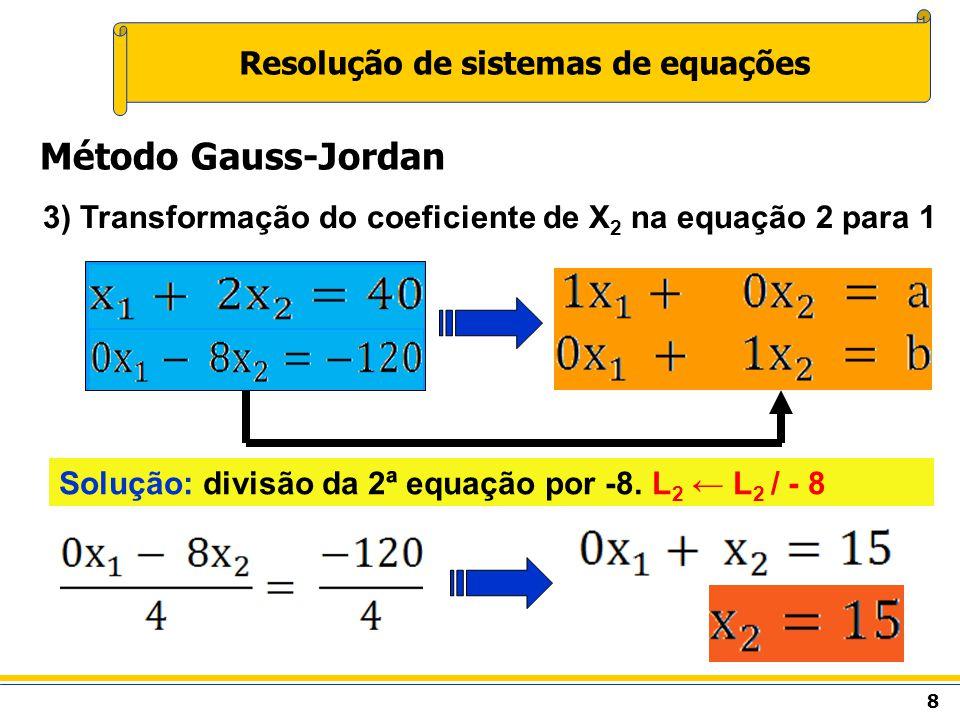 8 Resolução de sistemas de equações Método Gauss-Jordan 3) Transformação do coeficiente de X 2 na equação 2 para 1 Solução: divisão da 2ª equação por