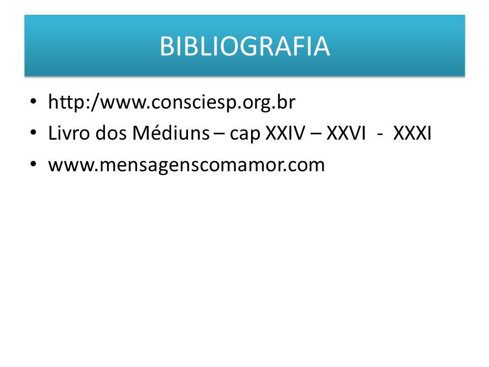 BIBLIOGRAFIA http:/www.consciesp.org.br Livro dos Médiuns – cap XXIV – XXVI - XXXI www.mensagenscomamor.com