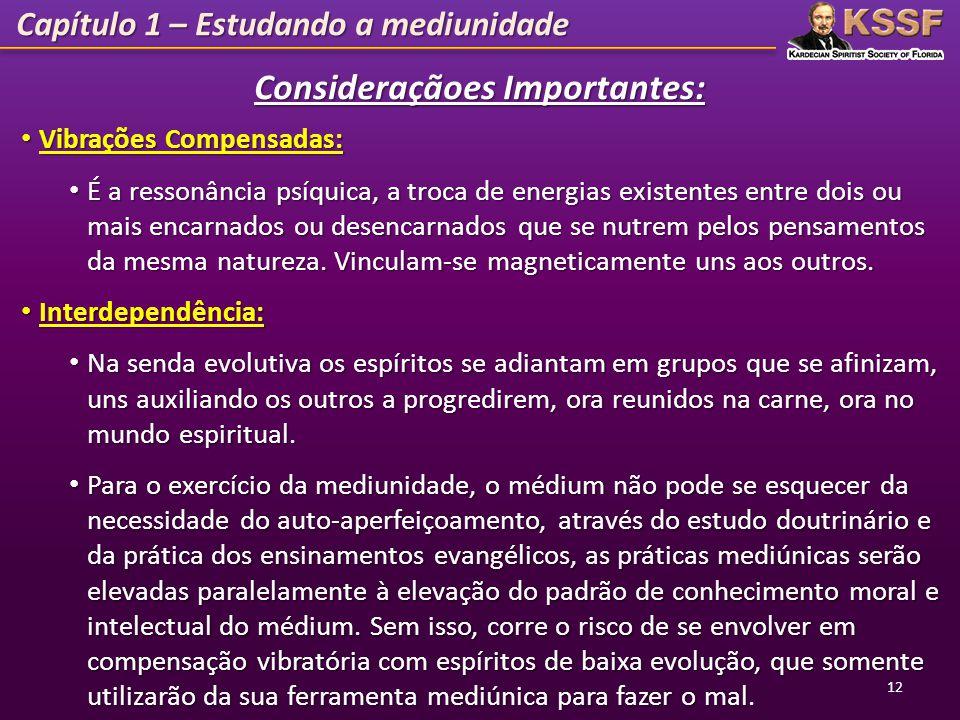 Capítulo 1 – Estudando a mediunidade Consideraçãoes Importantes: Vibrações Compensadas: Vibrações Compensadas: É a ressonância psíquica, a troca de en