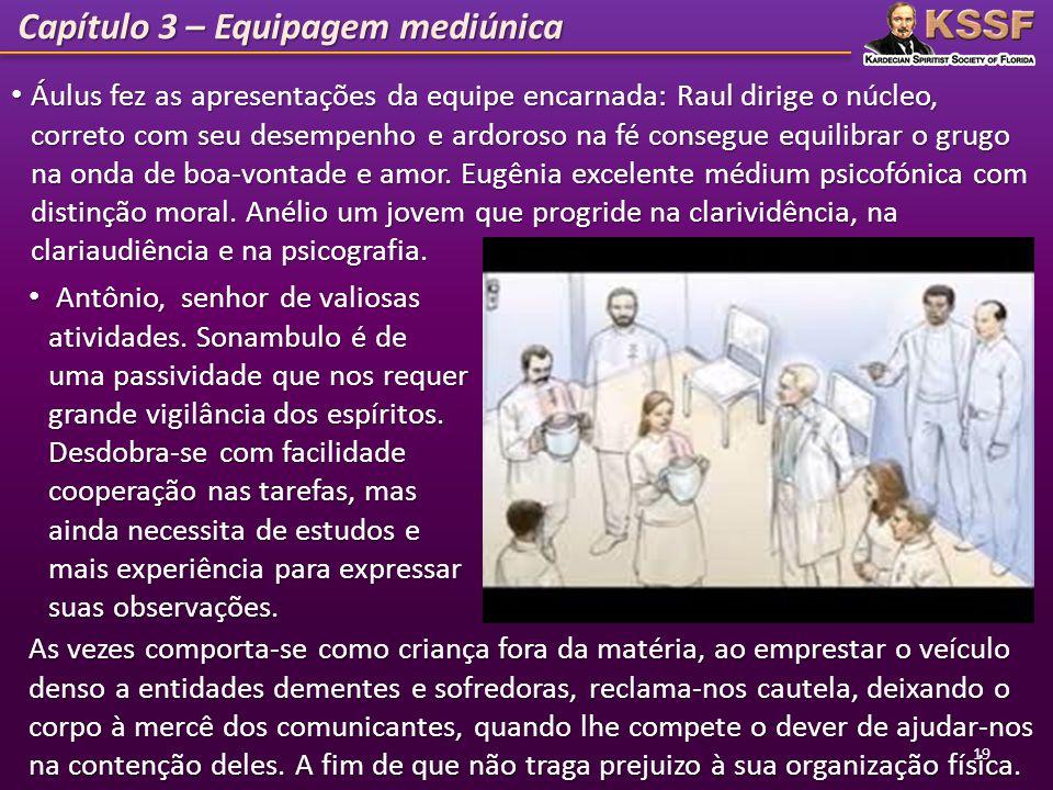 Capítulo 3 – Equipagem mediúnica Áulus fez as apresentações da equipe encarnada: Raul dirige o núcleo, correto com seu desempenho e ardoroso na fé con