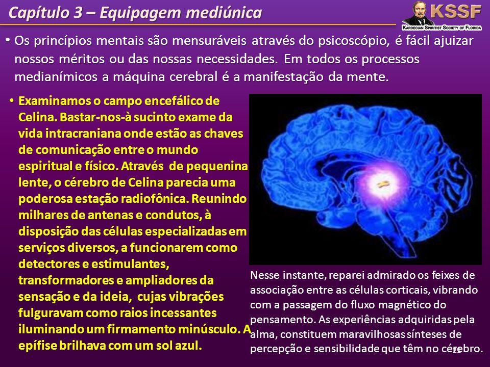 Capítulo 3 – Equipagem mediúnica Os princípios mentais são mensuráveis através do psicoscópio, é fácil ajuizar nossos méritos ou das nossas necessidad