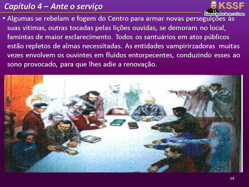 Capítulo 4 – Ante o serviço Algumas se rebelam e fogem do Centro para armar novas perseguições às suas vítimas, outras tocadas pelas lições ouvidas, s