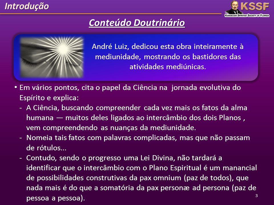 Introdução Conteúdo Doutrinário André Luiz, dedicou esta obra inteiramente à mediunidade, mostrando os bastidores das atividades mediúnicas. Em vários