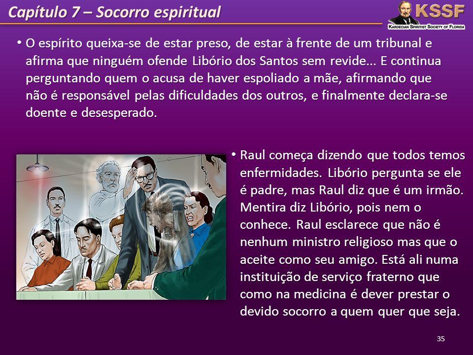 Capítulo 7 – Socorro espiritual O espírito queixa-se de estar preso, de estar à frente de um tribunal e afirma que ninguém ofende Libório dos Santos s