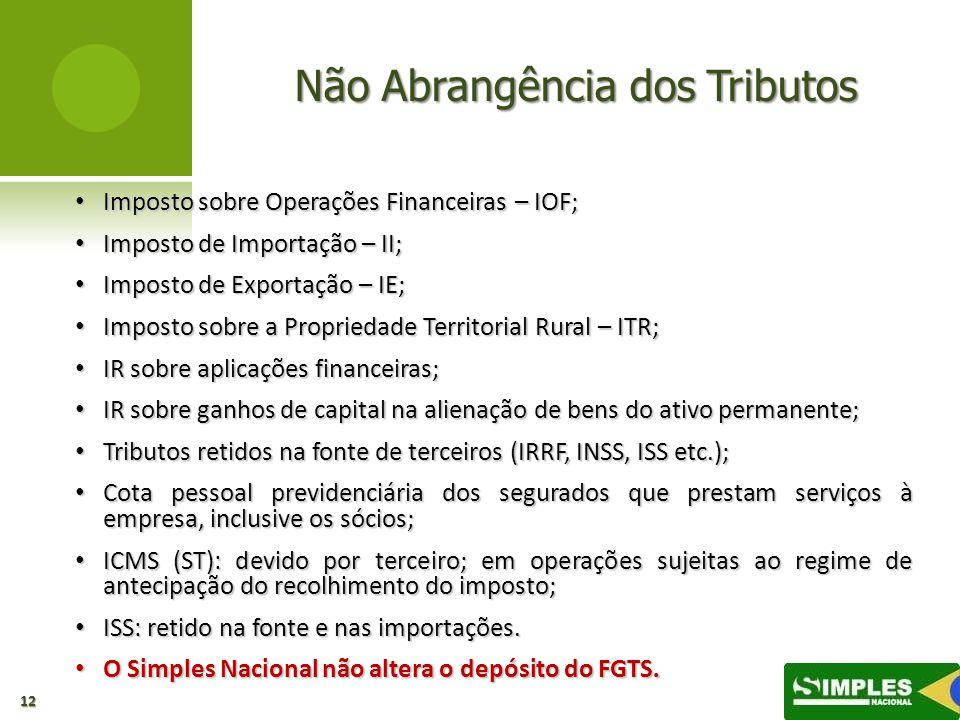Não Abrangência dos Tributos Imposto sobre Operações Financeiras – IOF; Imposto sobre Operações Financeiras – IOF; Imposto de Importação – II; Imposto