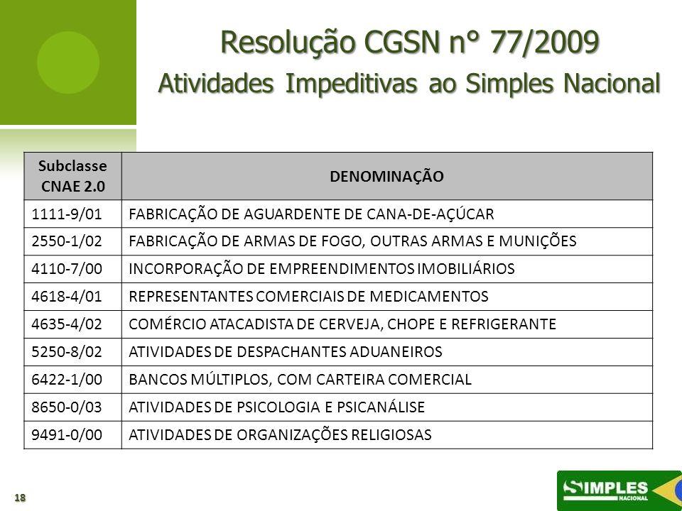 Resolução CGSN n° 77/2009 Atividades Impeditivas ao Simples Nacional 18 Subclasse CNAE 2.0 DENOMINAÇÃO 1111-9/01FABRICAÇÃO DE AGUARDENTE DE CANA-DE-AÇ