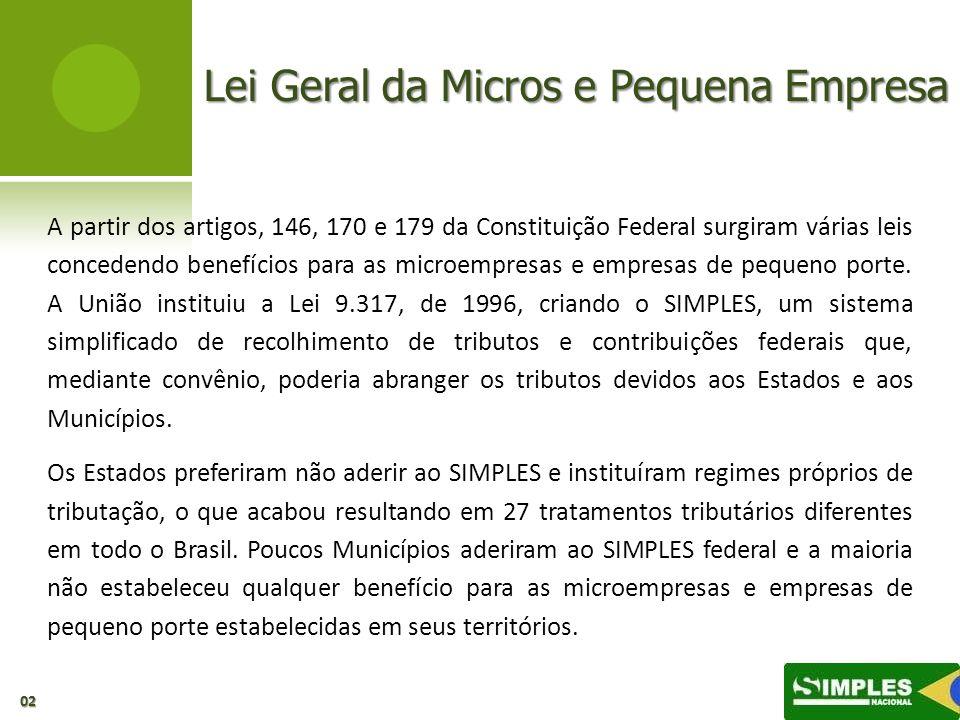 Lei Geral da Micros e Pequena Empresa A partir dos artigos, 146, 170 e 179 da Constituição Federal surgiram várias leis concedendo benefícios para as