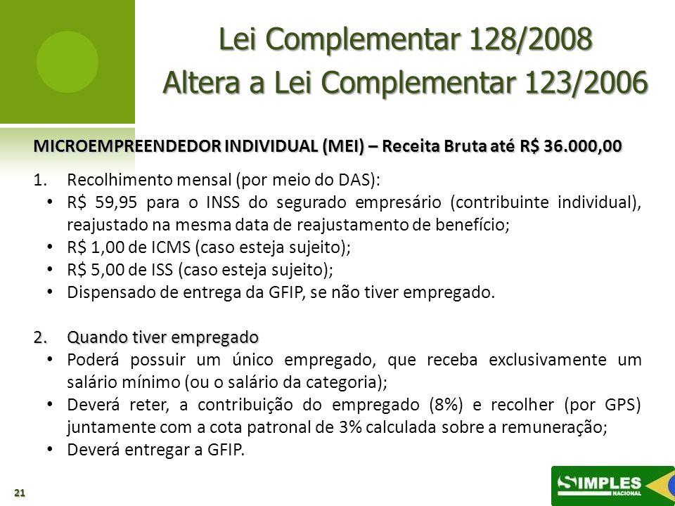 Lei Complementar 128/2008 Altera a Lei Complementar 123/2006 MICROEMPREENDEDOR INDIVIDUAL (MEI) – Receita Bruta até R$ 36.000,00 1. 1.Recolhimento men