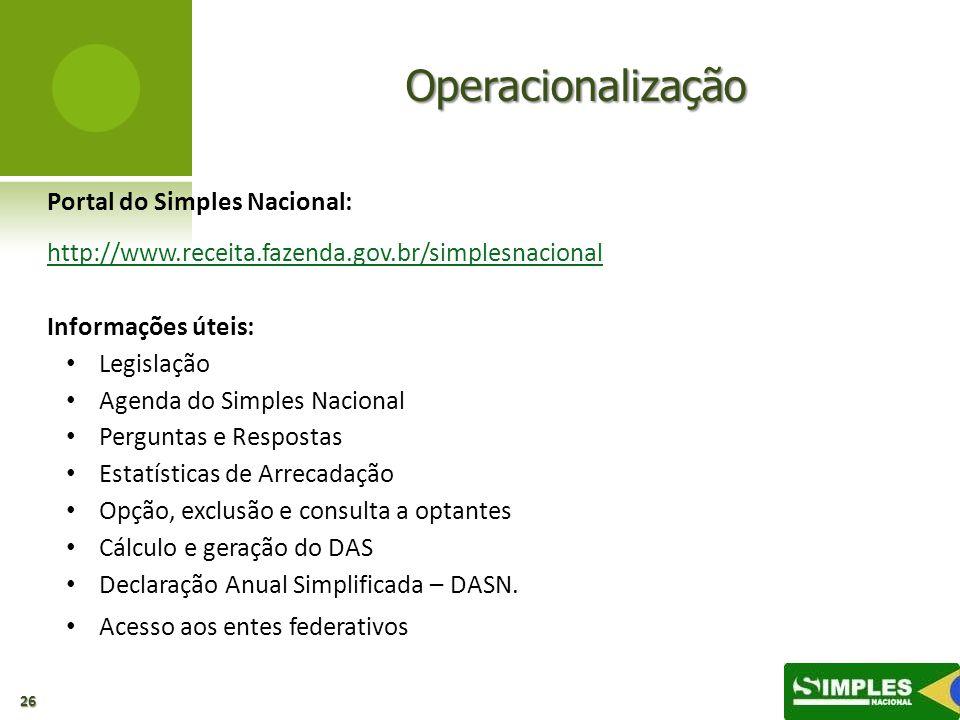Operacionalização Portal do Simples Nacional: http://www.receita.fazenda.gov.br/simplesnacional Informações úteis: Legislação Agenda do Simples Nacion