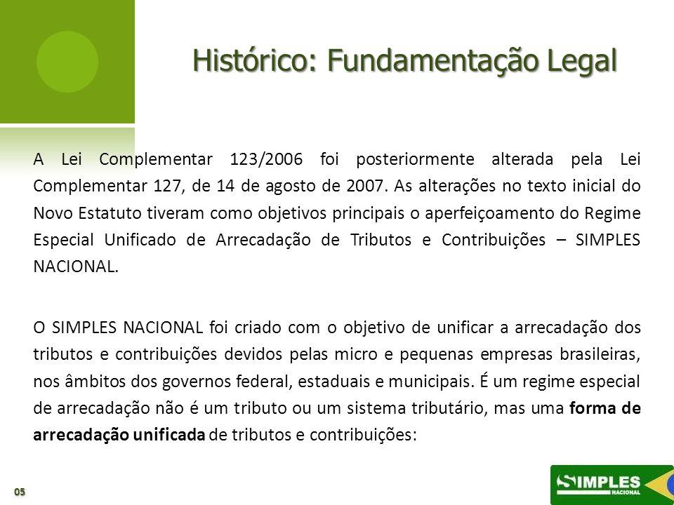 Histórico: Fundamentação Legal A Lei Complementar 123/2006 foi posteriormente alterada pela Lei Complementar 127, de 14 de agosto de 2007. As alteraçõ