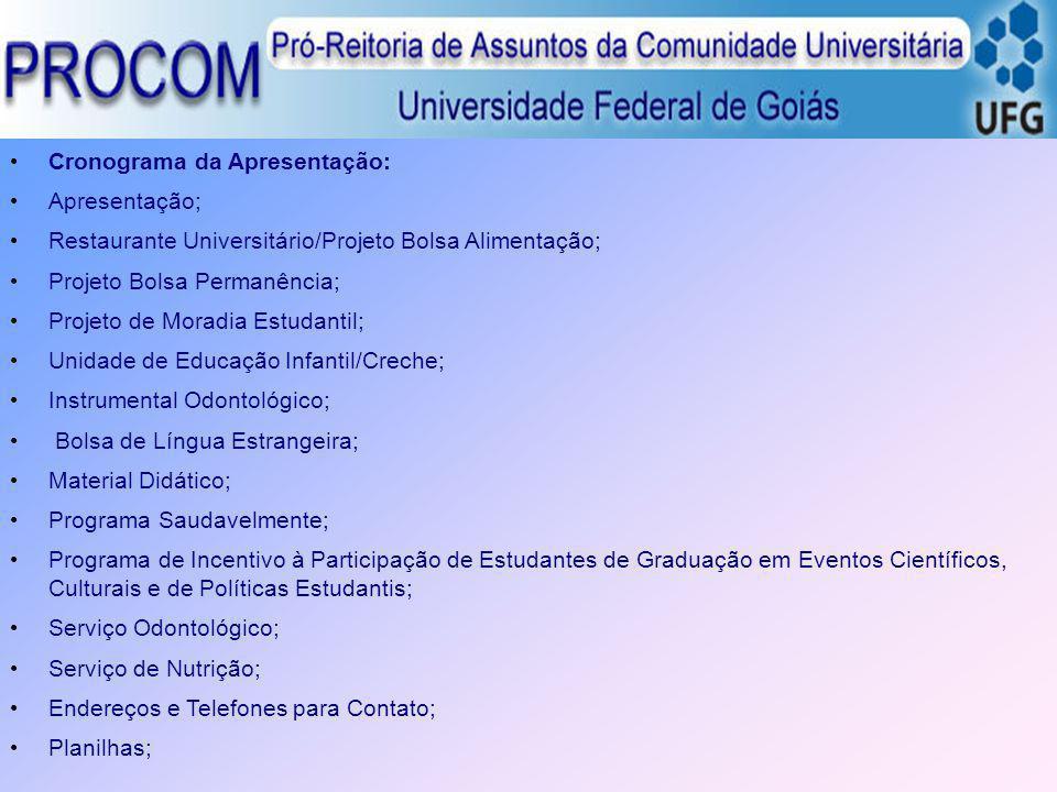 Cronograma da Apresentação: Apresentação; Restaurante Universitário/Projeto Bolsa Alimentação; Projeto Bolsa Permanência; Projeto de Moradia Estudanti