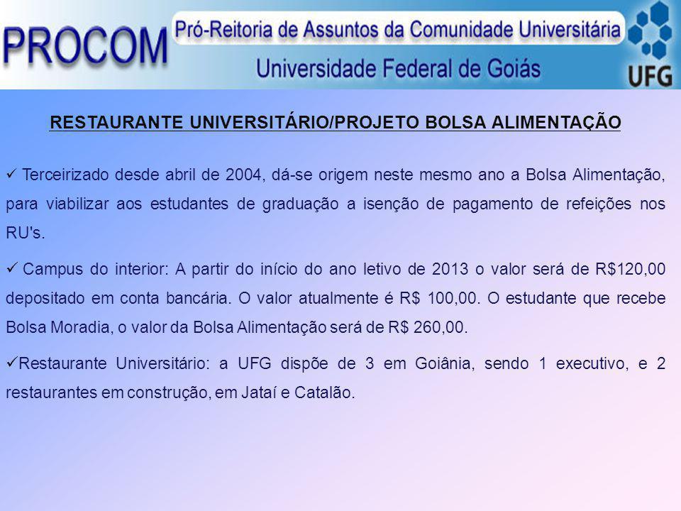 RESTAURANTE UNIVERSITÁRIO/PROJETO BOLSA ALIMENTAÇÃO Terceirizado desde abril de 2004, dá-se origem neste mesmo ano a Bolsa Alimentação, para viabiliza