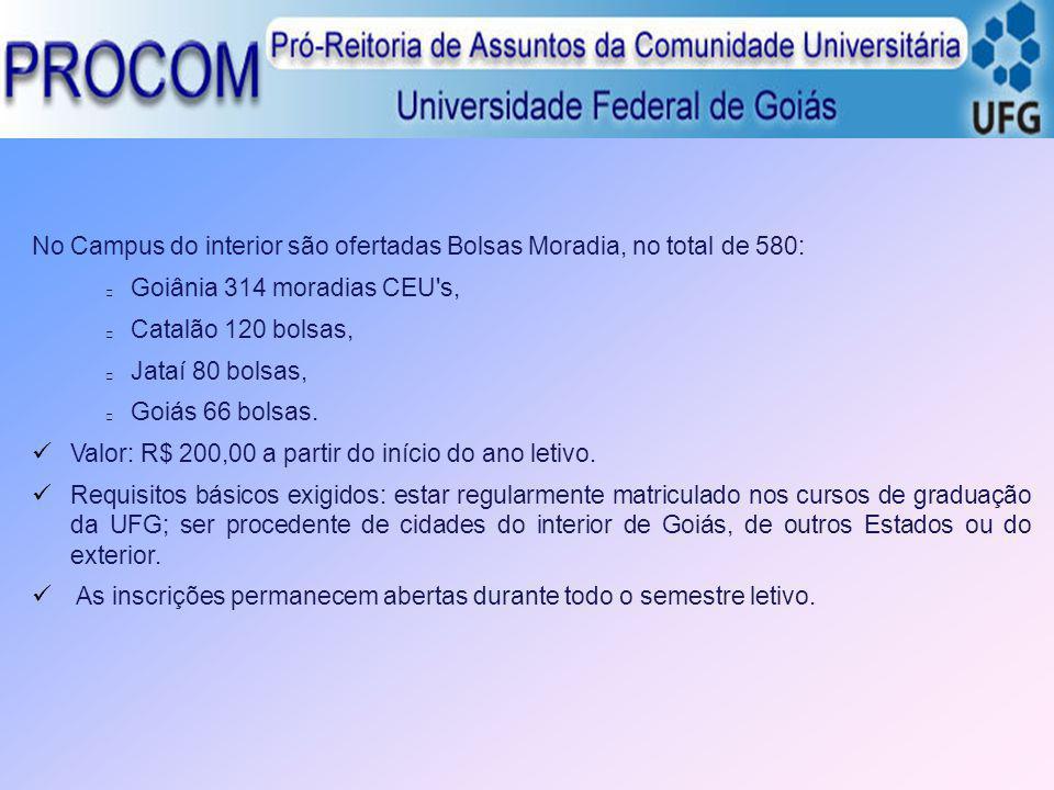 No Campus do interior são ofertadas Bolsas Moradia, no total de 580: Goiânia 314 moradias CEU's, Catalão 120 bolsas, Jataí 80 bolsas, Goiás 66 bolsas.