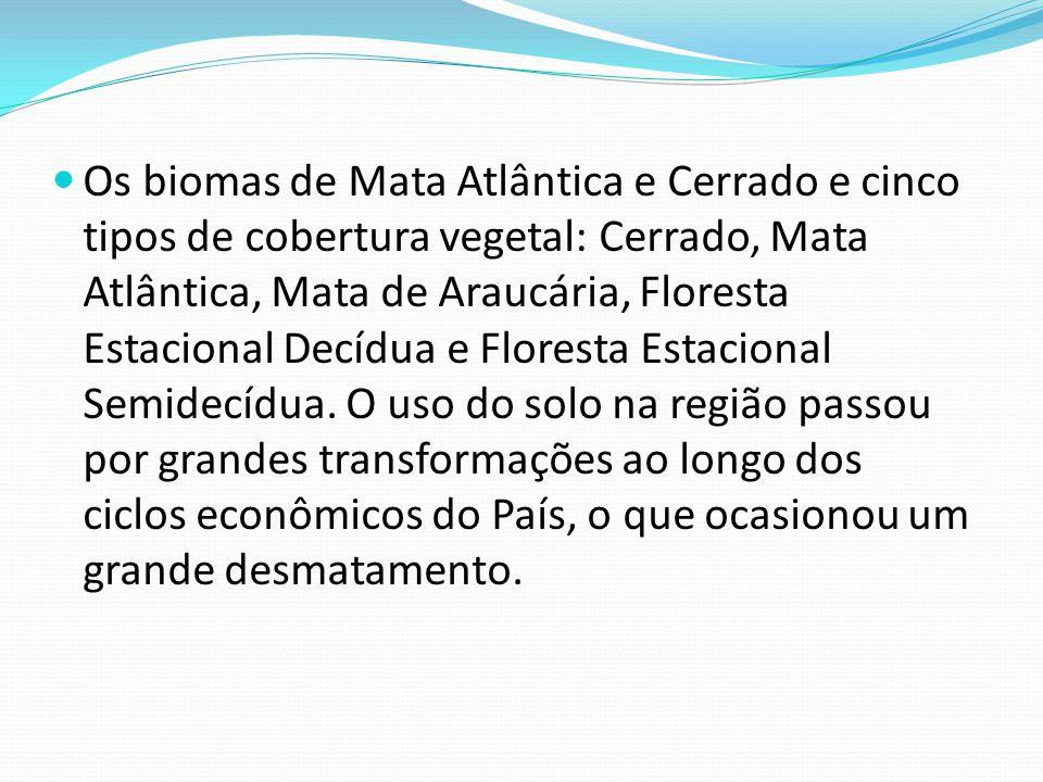 Meios biológicos: Característica Florestal – Floresta Subtropical Clima Predominante – Subtropical Úmido A biodiversidade local encontra-se da seguint