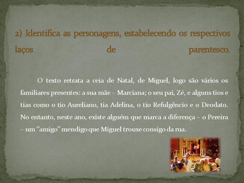 O texto retrata a ceia de Natal, de Miguel, logo são vários os familiares presentes: a sua mãe – Marciana; o seu pai, Zé, e alguns tios e tias como o