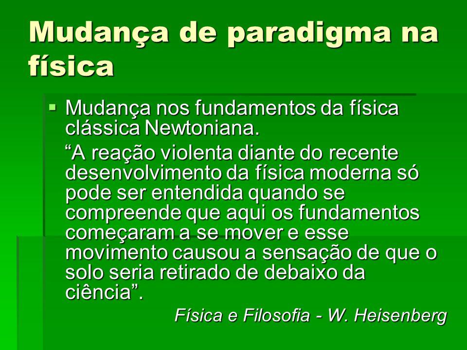 Mudança de paradigma na física Mudança nos fundamentos da física clássica Newtoniana. Mudança nos fundamentos da física clássica Newtoniana. A reação