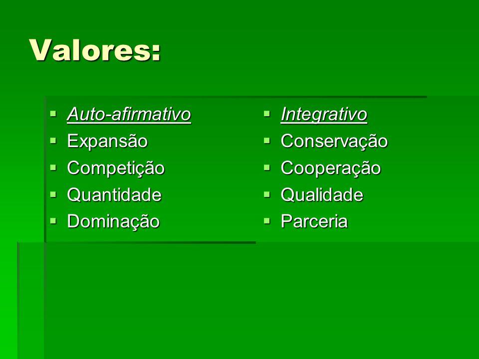Valores: Auto-afirmativo Auto-afirmativo Expansão Expansão Competição Competição Quantidade Quantidade Dominação Dominação Integrativo Integrativo Con