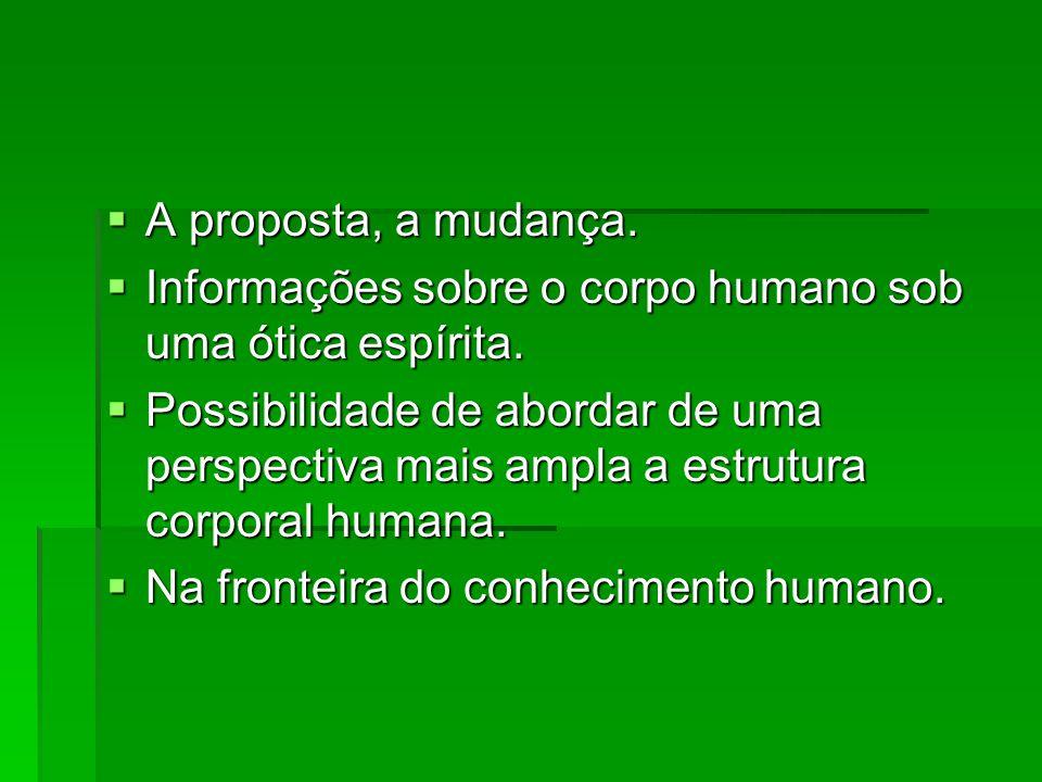 A proposta, a mudança. A proposta, a mudança. Informações sobre o corpo humano sob uma ótica espírita. Informações sobre o corpo humano sob uma ótica