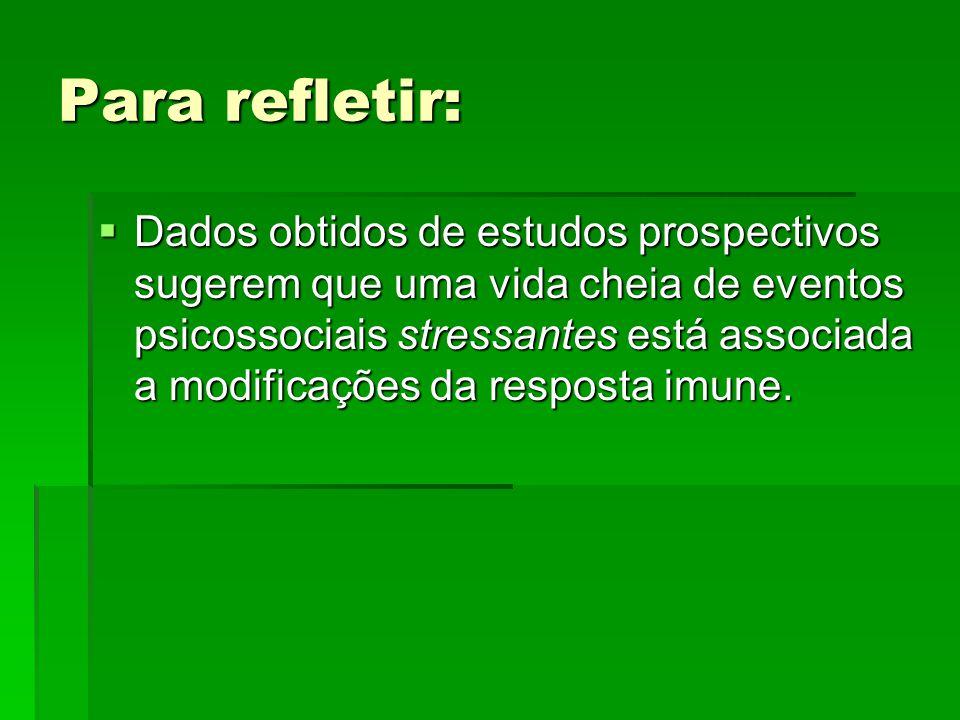 Para refletir: Dados obtidos de estudos prospectivos sugerem que uma vida cheia de eventos psicossociais stressantes está associada a modificações da