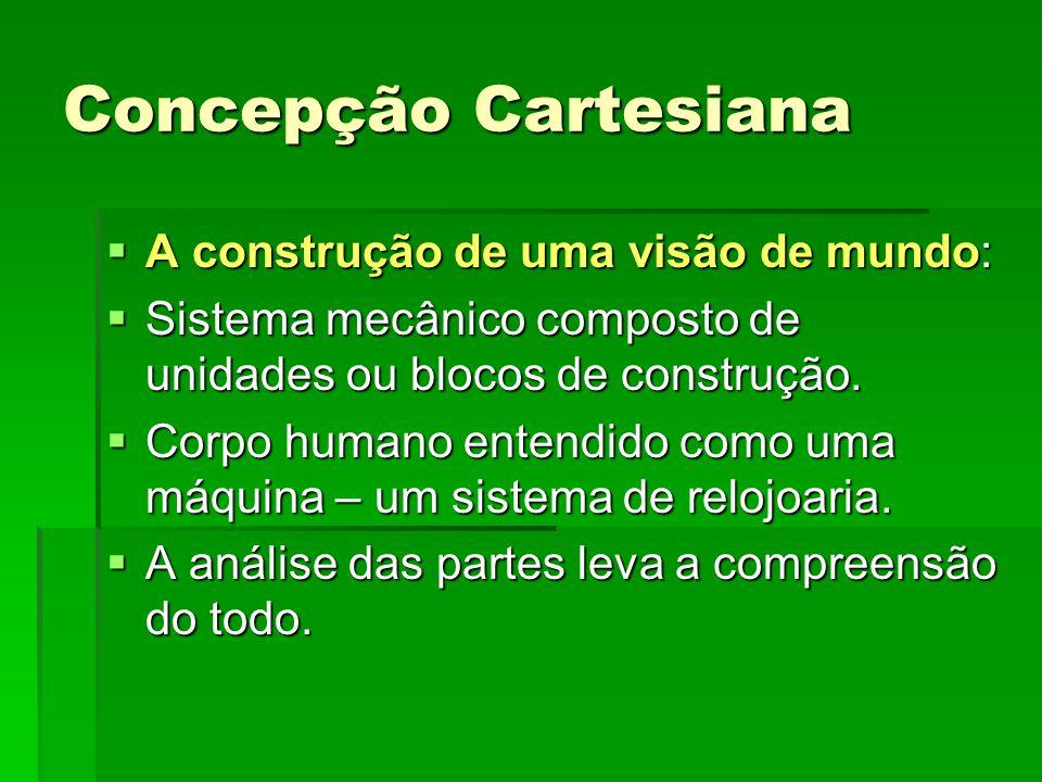 Concepção Cartesiana A construção de uma visão de mundo: A construção de uma visão de mundo: Sistema mecânico composto de unidades ou blocos de constr