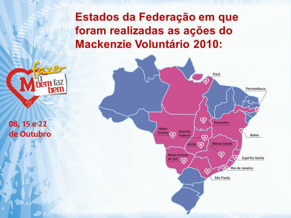 Estados da Federação em que foram realizadas as ações do Mackenzie Voluntário 2010: