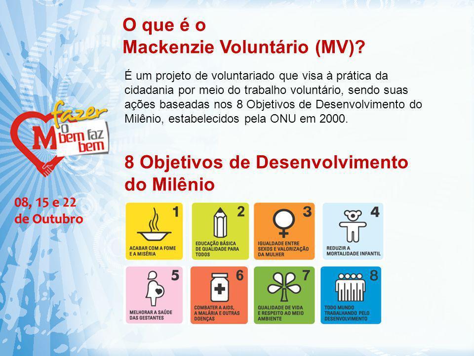 O que é o Mackenzie Voluntário (MV)? É um projeto de voluntariado que visa à prática da cidadania por meio do trabalho voluntário, sendo suas ações ba