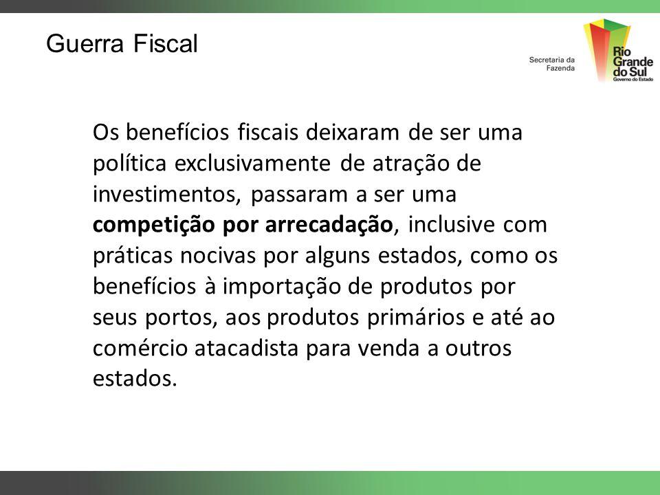 Guerra Fiscal Os benefícios fiscais deixaram de ser uma política exclusivamente de atração de investimentos, passaram a ser uma competição por arrecad