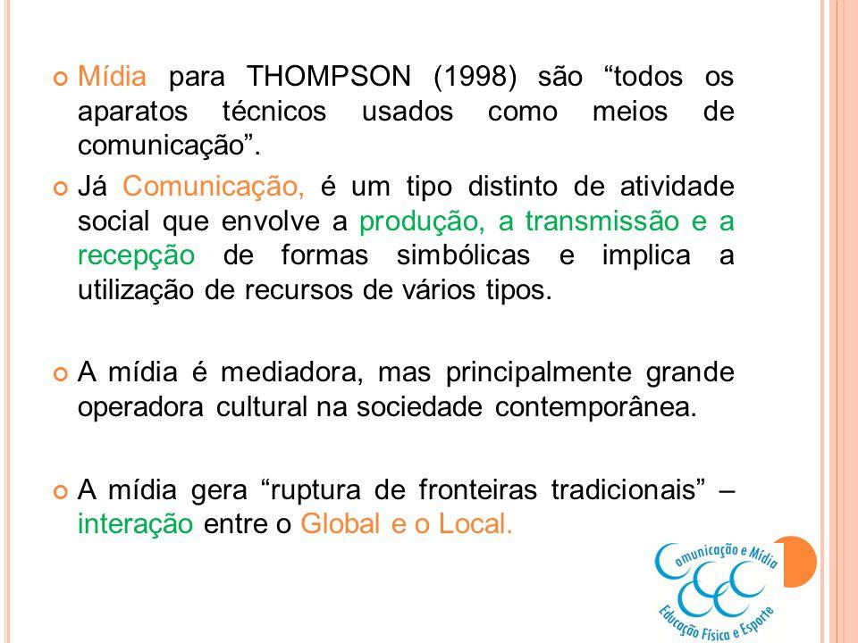 Mídia para THOMPSON (1998) são todos os aparatos técnicos usados como meios de comunicação. Já Comunicação, é um tipo distinto de atividade social que
