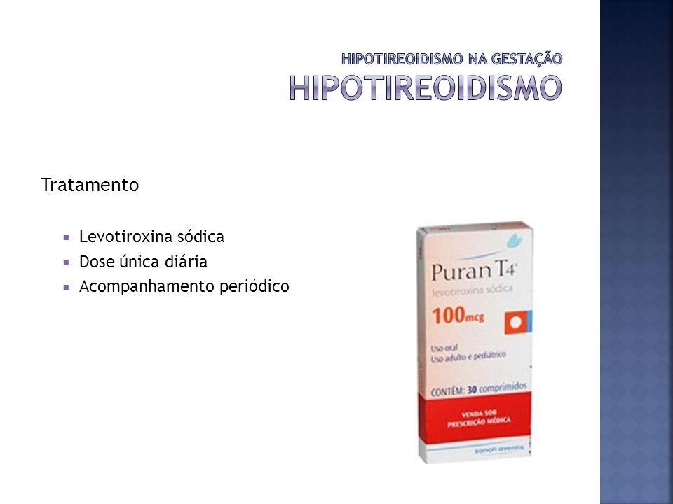 Tratamento Levotiroxina sódica Dose única diária Acompanhamento periódico