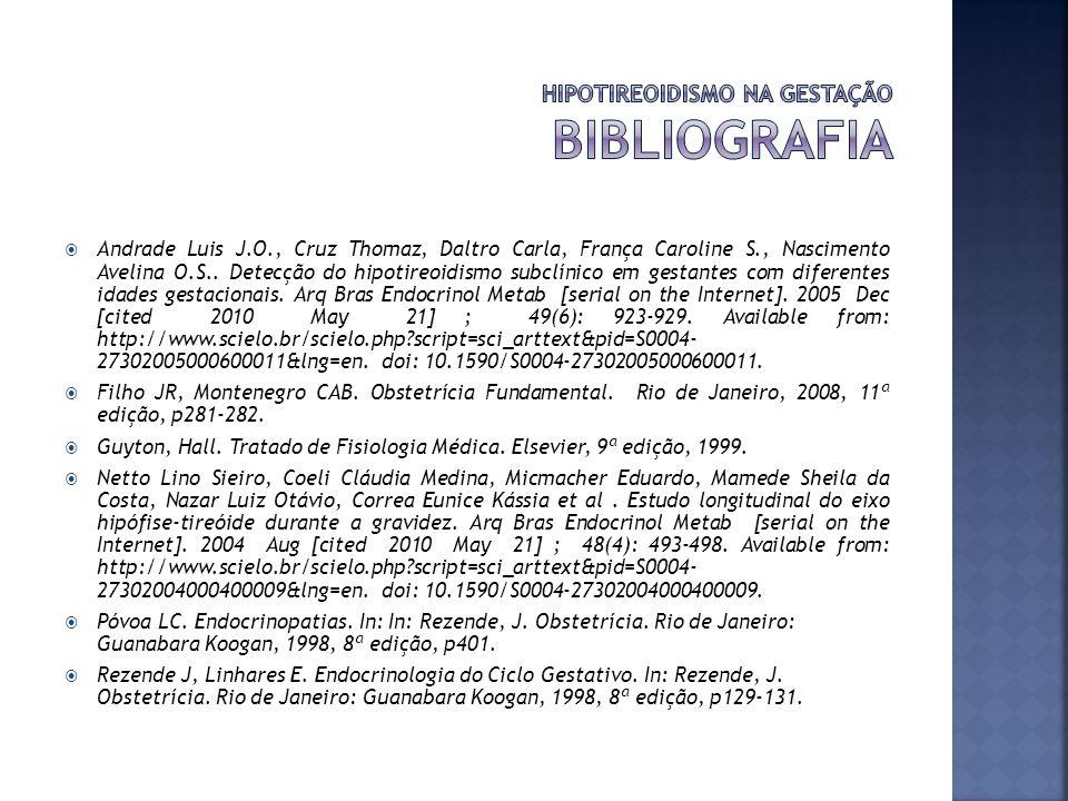 Andrade Luis J.O., Cruz Thomaz, Daltro Carla, França Caroline S., Nascimento Avelina O.S.. Detecção do hipotireoidismo subclínico em gestantes com dif