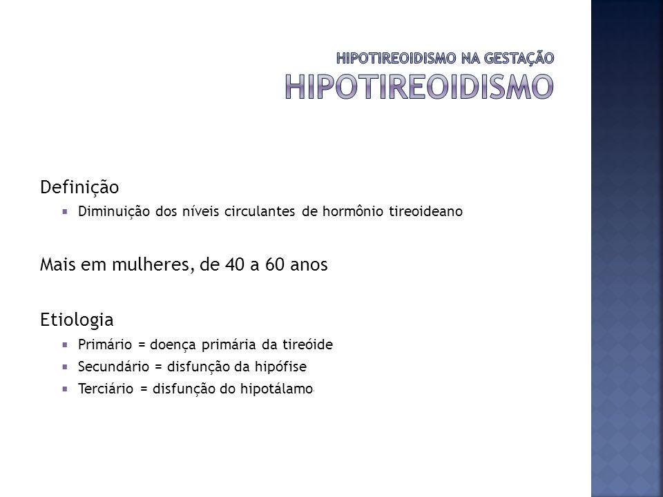Sinais e sintomas Cansaço de duração prolongada Fraqueza Constipação Aumento de peso Intolerância ao frio Ressecamento da pele Diagnóstico Diminuição de T3 e T4 Aumento de TSH (se primário) ou diminuição de TSH (se secundário ou terciário) Anticorpos anti-tireoideanos, anti-peroxidase