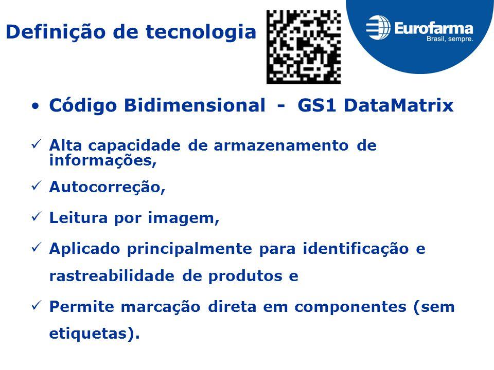 Código Bidimensional - GS1 DataMatrix Alta capacidade de armazenamento de informações, Autocorreção, Leitura por imagem, Aplicado principalmente para identificação e rastreabilidade de produtos e Permite marcação direta em componentes (sem etiquetas).