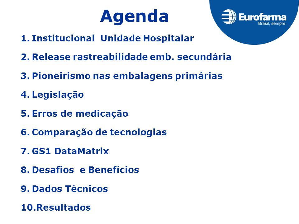 Agenda 1.Institucional Unidade Hospitalar 2.Release rastreabilidade emb. secundária 3.Pioneirismo nas embalagens primárias 4.Legislação 5.Erros de med