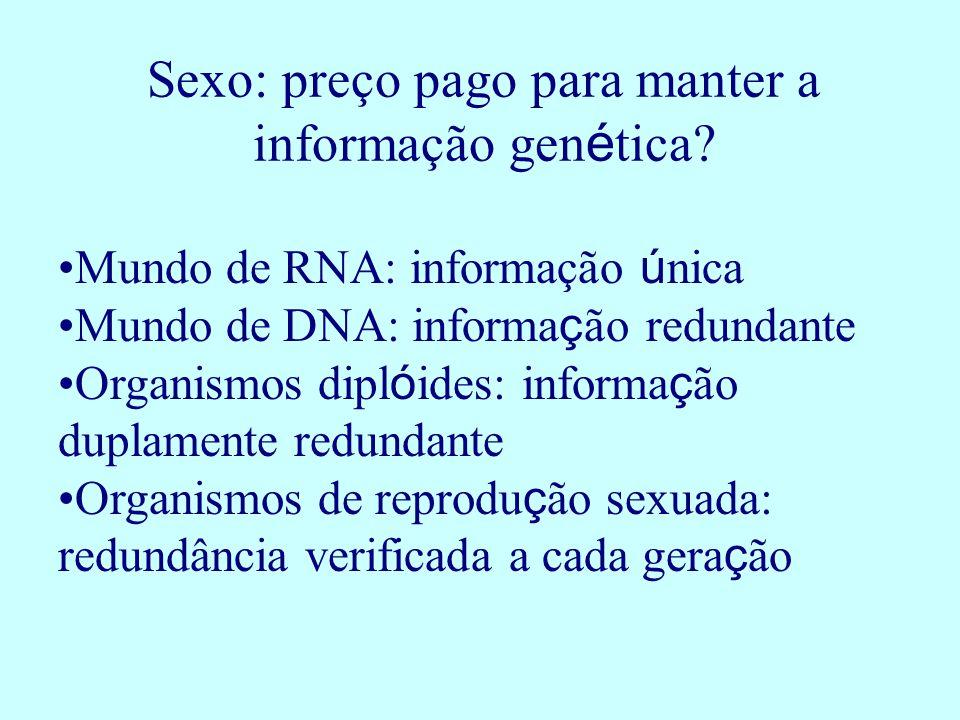 Sexo: preço pago para manter a informação gen é tica? Mundo de RNA: informação ú nica Mundo de DNA: informa ç ão redundante Organismos dipl ó ides: in