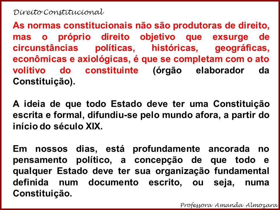 Direito Constitucional Professora Amanda Almozara 13 As normas constitucionais não são produtoras de direito, mas o próprio direito objetivo que exsur