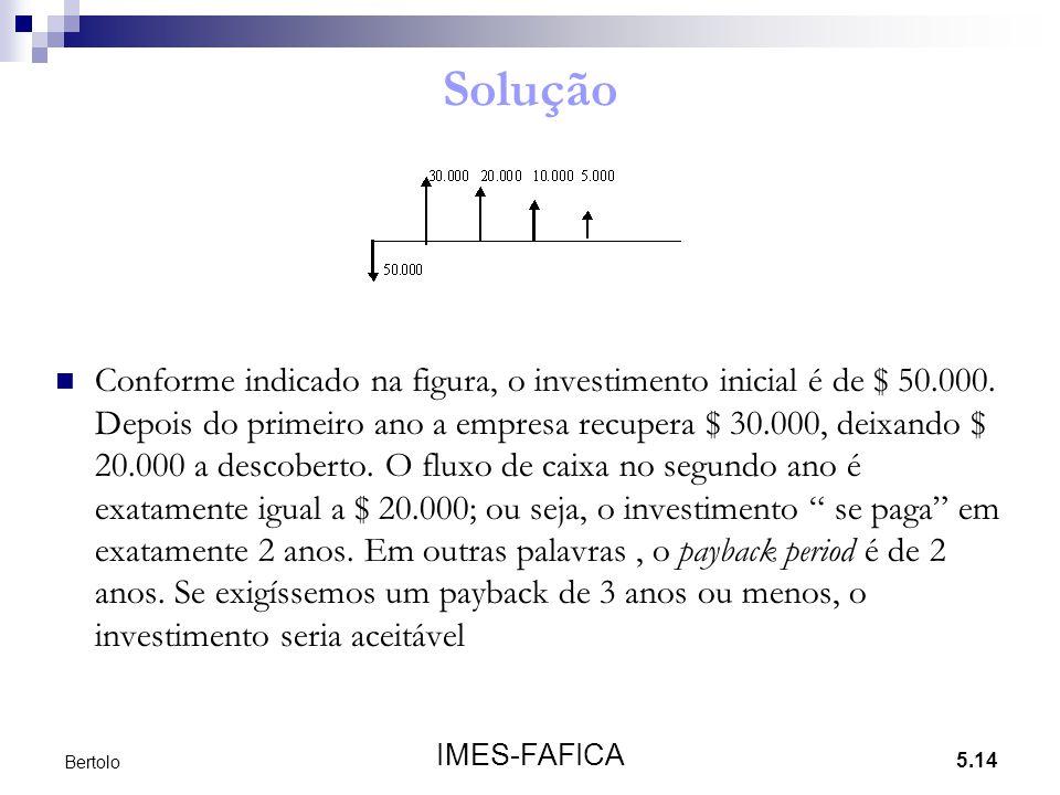 5.14 IMES-FAFICA Bertolo Solução Conforme indicado na figura, o investimento inicial é de $ 50.000. Depois do primeiro ano a empresa recupera $ 30.000