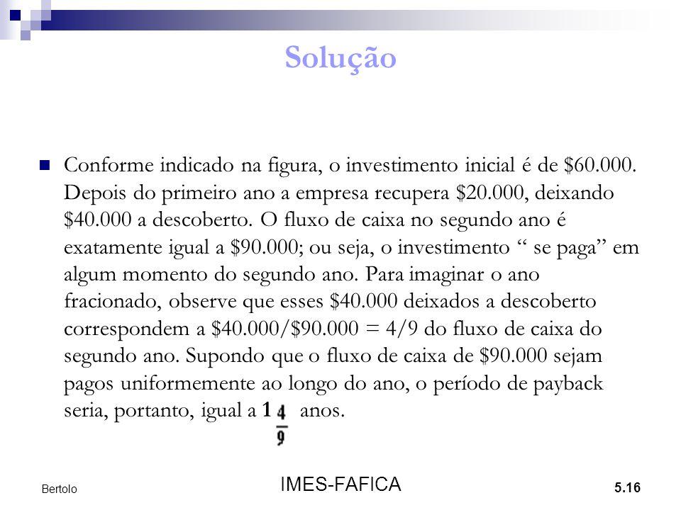 5.16 IMES-FAFICA Bertolo Solução Conforme indicado na figura, o investimento inicial é de $60.000. Depois do primeiro ano a empresa recupera $20.000,