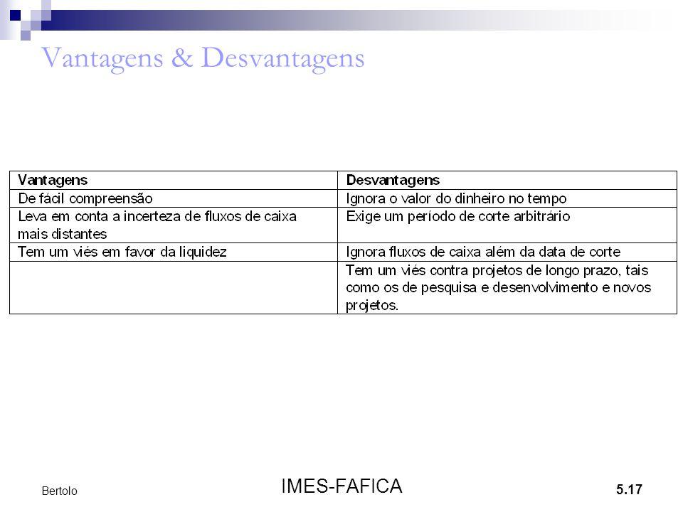 5.17 IMES-FAFICA Bertolo Vantagens & Desvantagens