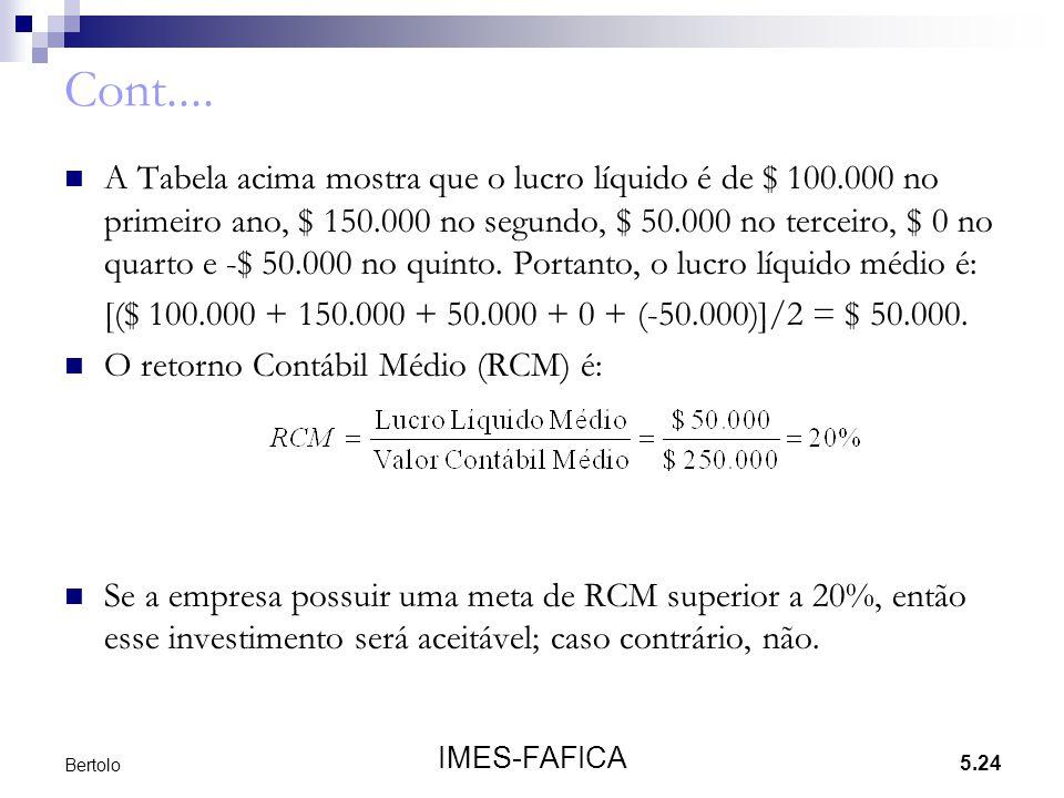 5.24 IMES-FAFICA Bertolo Cont.... A Tabela acima mostra que o lucro líquido é de $ 100.000 no primeiro ano, $ 150.000 no segundo, $ 50.000 no terceiro