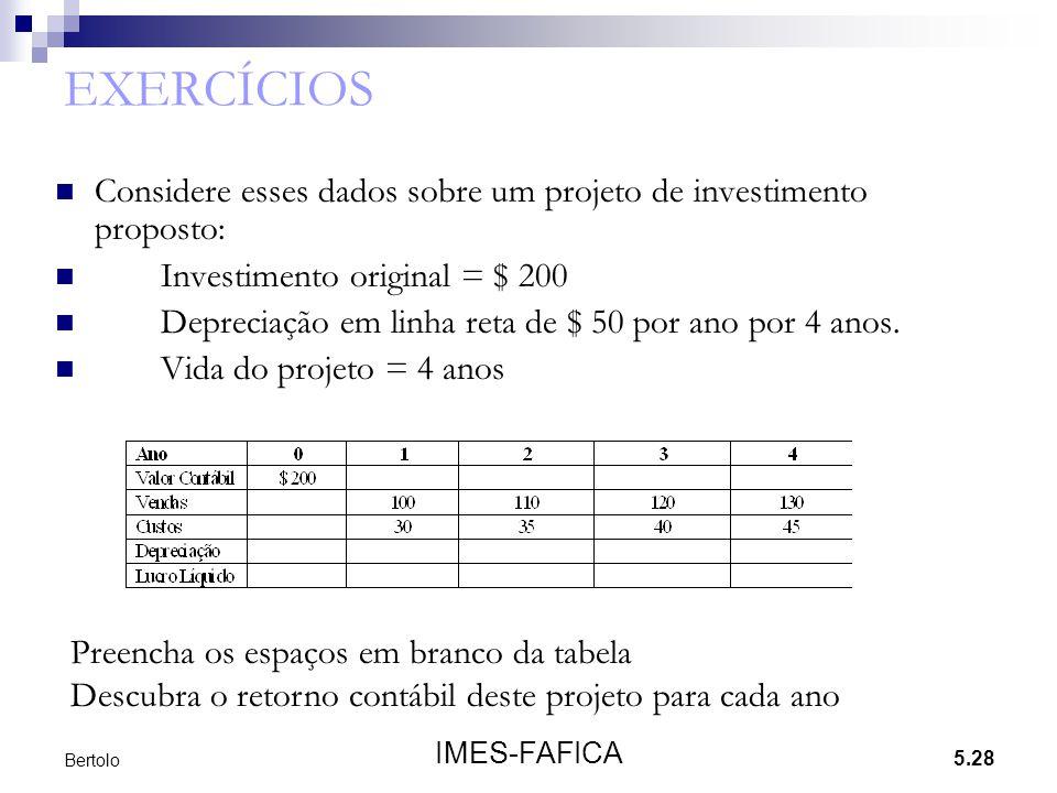5.28 IMES-FAFICA Bertolo EXERCÍCIOS Considere esses dados sobre um projeto de investimento proposto: Investimento original = $ 200 Depreciação em linh