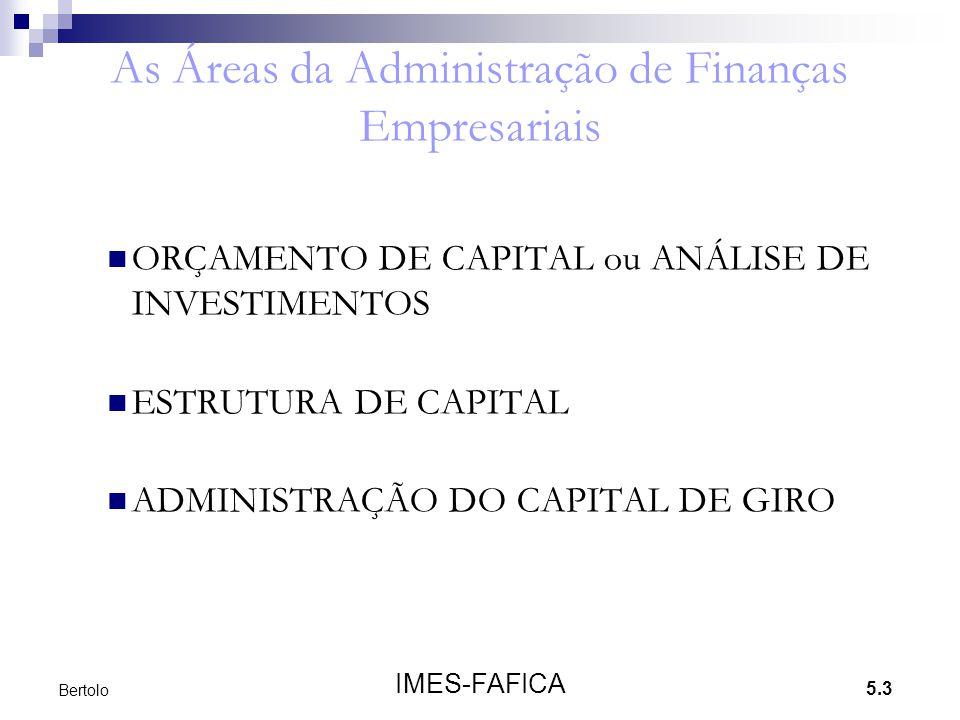 5.3 IMES-FAFICA Bertolo As Áreas da Administração de Finanças Empresariais ORÇAMENTO DE CAPITAL ou ANÁLISE DE INVESTIMENTOS ESTRUTURA DE CAPITAL ADMIN
