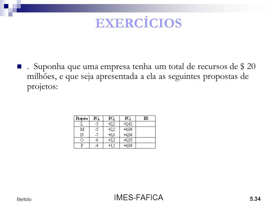 5.34 IMES-FAFICA Bertolo EXERCÍCIOS. Suponha que uma empresa tenha um total de recursos de $ 20 milhões, e que seja apresentada a ela as seguintes pro