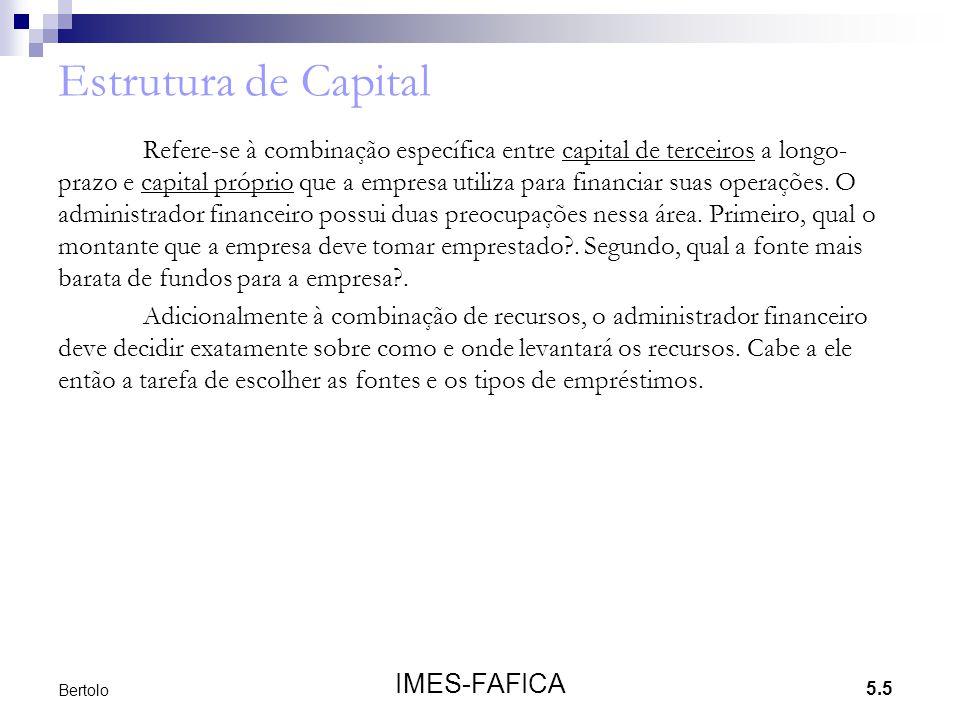 5.5 IMES-FAFICA Bertolo Estrutura de Capital Refere-se à combinação específica entre capital de terceiros a longo- prazo e capital próprio que a empre