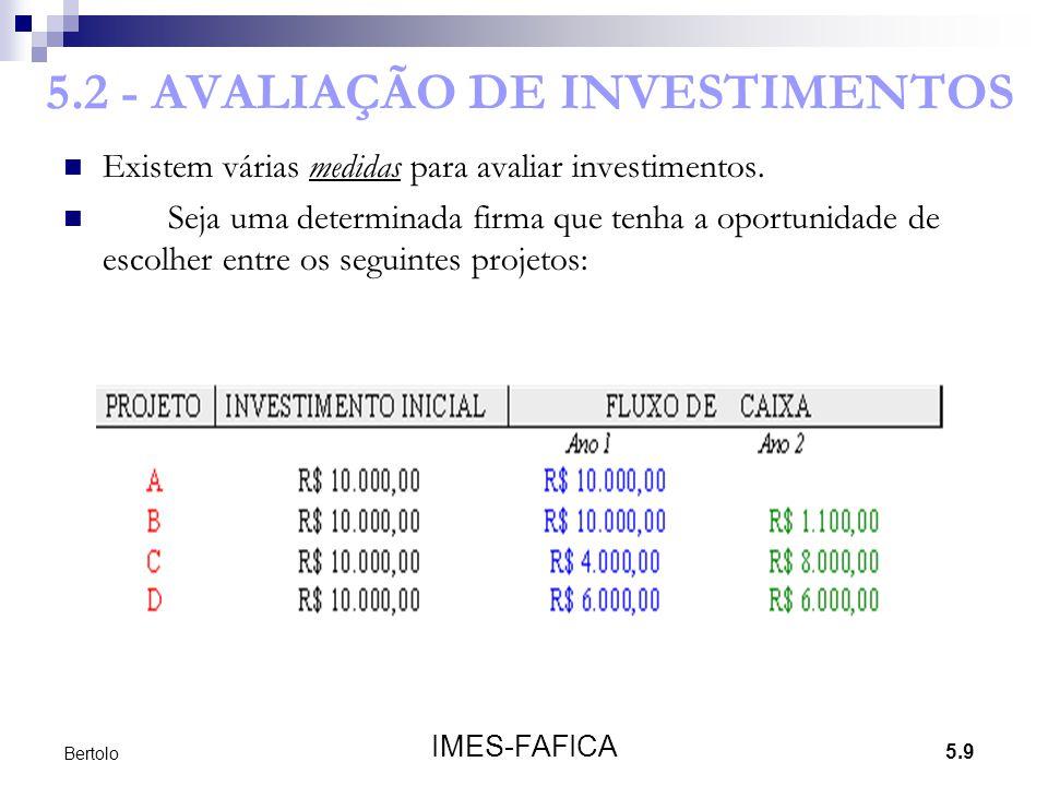 5.9 IMES-FAFICA Bertolo 5.2 - AVALIAÇÃO DE INVESTIMENTOS Existem várias medidas para avaliar investimentos. Seja uma determinada firma que tenha a opo
