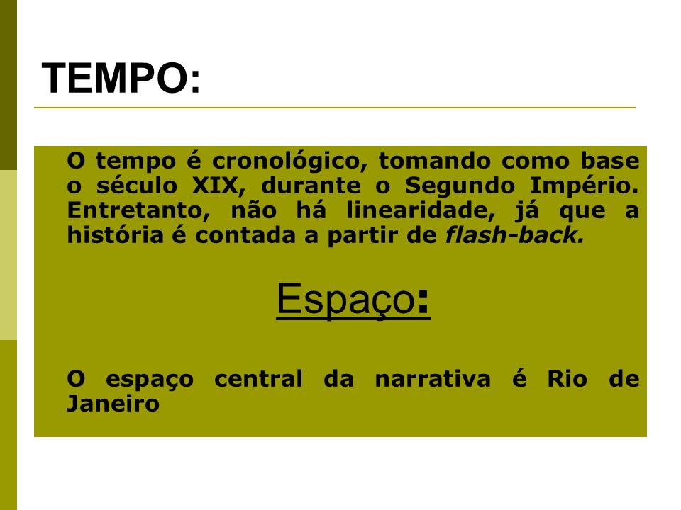 TEMPO: O tempo é cronológico, tomando como base o século XIX, durante o Segundo Império.