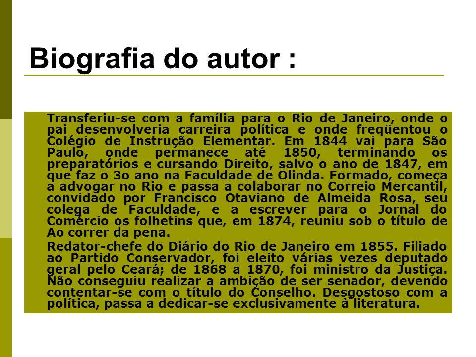 Biografia do autor : Transferiu-se com a família para o Rio de Janeiro, onde o pai desenvolveria carreira política e onde freqüentou o Colégio de Instrução Elementar.