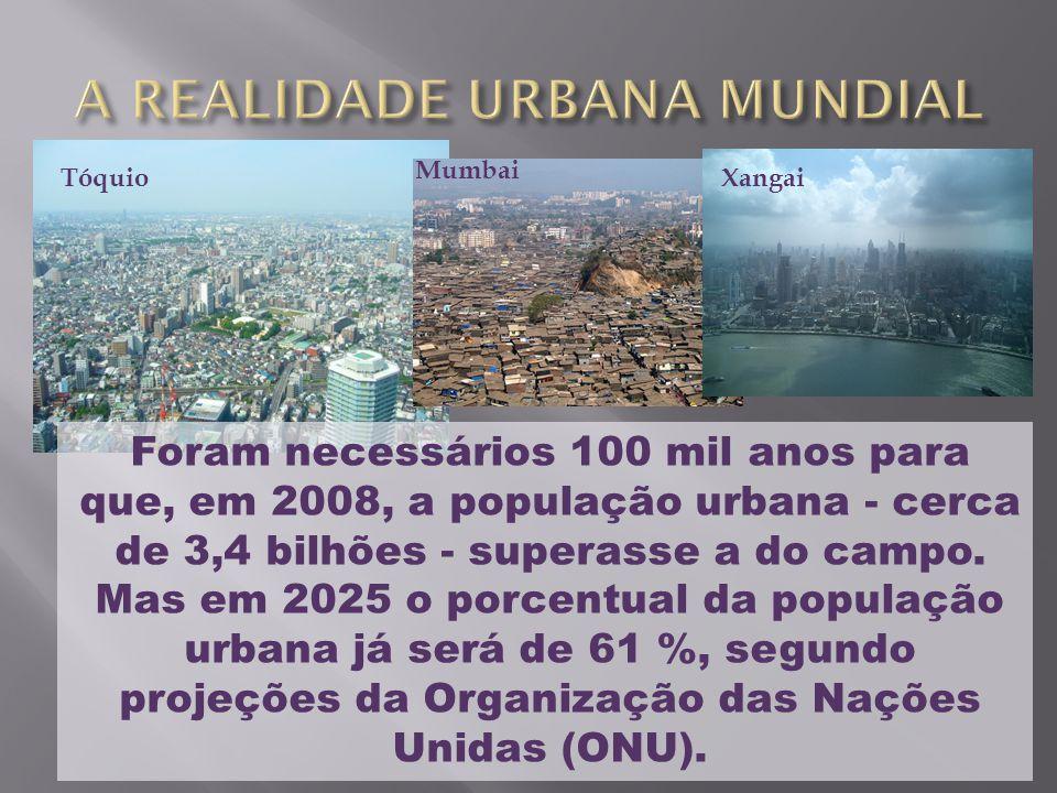 Tóquio Foram necessários 100 mil anos para que, em 2008, a população urbana - cerca de 3,4 bilhões - superasse a do campo. Mas em 2025 o porcentual da