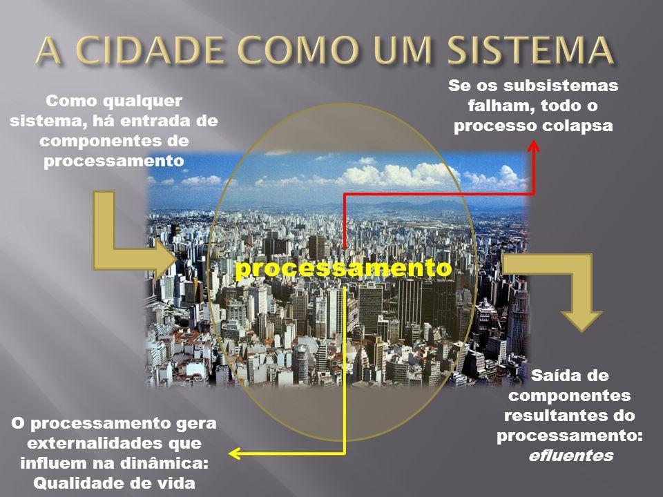 Como qualquer sistema, há entrada de componentes de processamento processamento Saída de componentes resultantes do processamento: efluentes O process