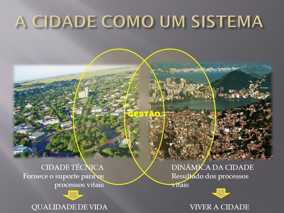CIDADE TÉCNICA Fornece o suporte para os processos vitais DINÂMICA DA CIDADE Resultado dos processos vitais VIVER A CIDADEQUALIDADE DE VIDA GESTÃO